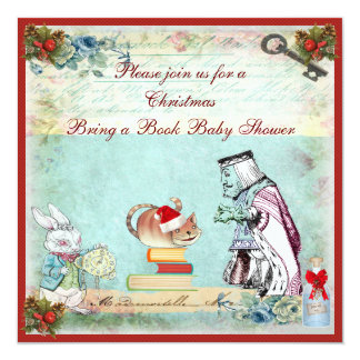 "Bring a Book Wonderland Christmas Baby Shower 5.25"" Square Invitation Card"