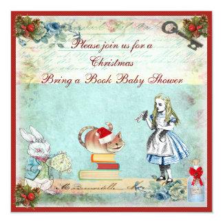 Bring a Book Wonderland Christmas Baby Shower Invitation