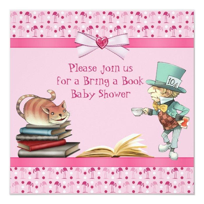 bring a book wonderland flamingos baby shower card zazzle