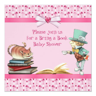 Bring a Book Wonderland Flamingos Baby Shower 5.25x5.25 Square Paper Invitation Card