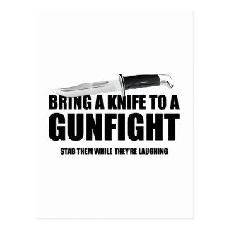 Bring A Knife To A Gunfight Postcard