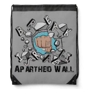 Bring Down Israeli Apartheid Wall Westbank Barrier Drawstring Bag