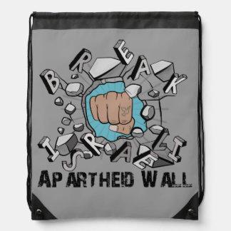 Bring Down Israeli Apartheid Wall Westbank Barrier Drawstring Backpack