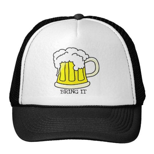 BRING IT...BIG BEER MUG WITH HEAD TRUCKER HAT