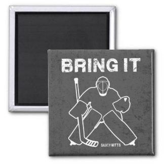 Bring It Hockey Goalie 2 Inch Square Magnet