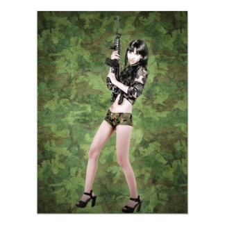 BRING IT ON! (girl with machine gun) ~ 6.5x8.75 Paper Invitation Card