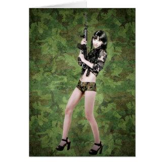 BRING IT ON! (girl with machine gun) ~ Greeting Card
