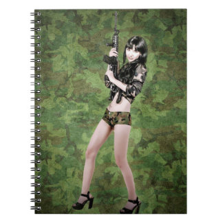 BRING IT ON! (girl with machine gun) ~ Note Book