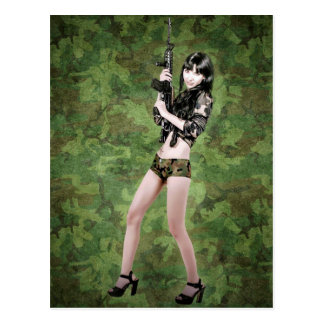 BRING IT ON! (girl with machine gun) ~ Postcard