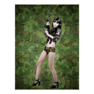 BRING IT ON! (girl with machine gun) ~ Poster