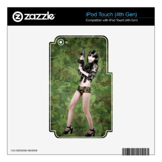 BRING IT ON! (girl with machine gun) ~ iPod Touch 4G Decals