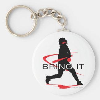 Bring it Red Batter Softball Basic Round Button Keychain