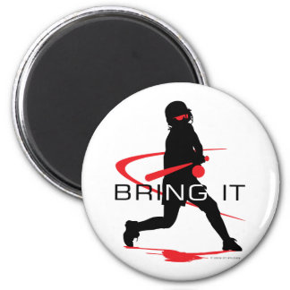 Bring it Red Batter Softball 2 Inch Round Magnet