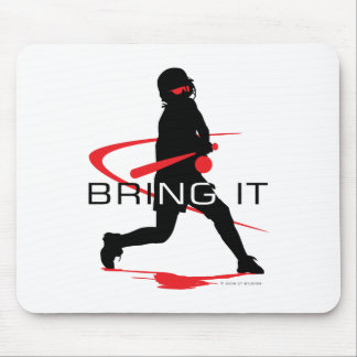 Bring it Red Batter Softball Mouse Pad