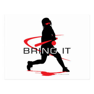 Bring it Red Batter Softball Postcard