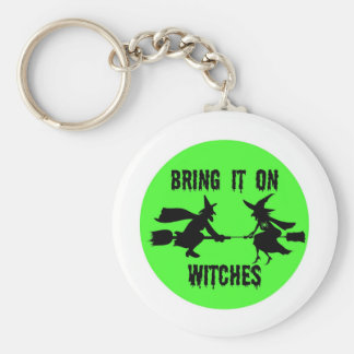 BRING IT WITCHES GREEN FULL MOON AND WITCHES PRINT KEYCHAIN