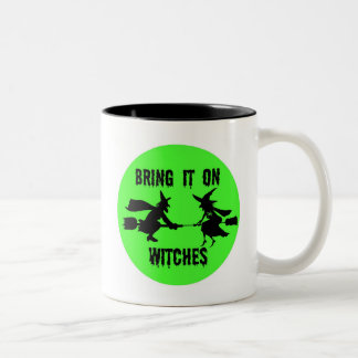 BRING IT WITCHES GREEN FULL MOON AND WITCHES PRINT COFFEE MUGS
