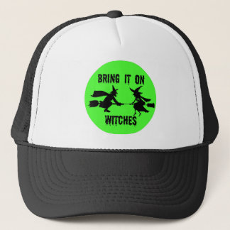 BRING IT WITCHES GREEN FULL MOON AND WITCHES PRINT TRUCKER HAT