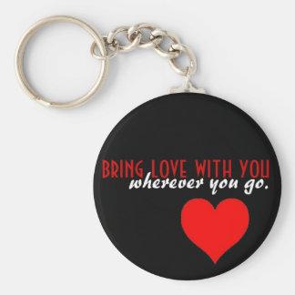 Bring love basic round button keychain