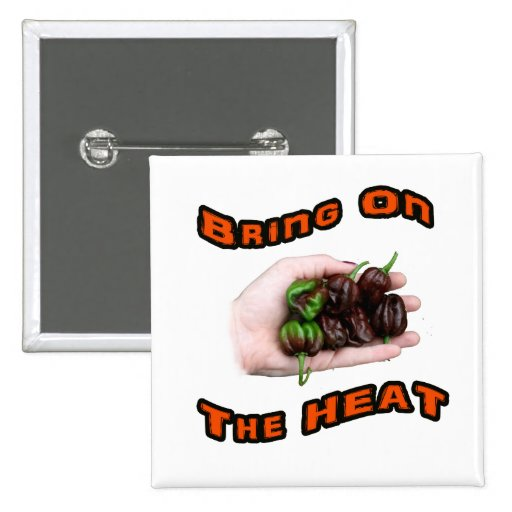 Bring On Heat Chocolate Hot Habanero Pepper Pinback Button