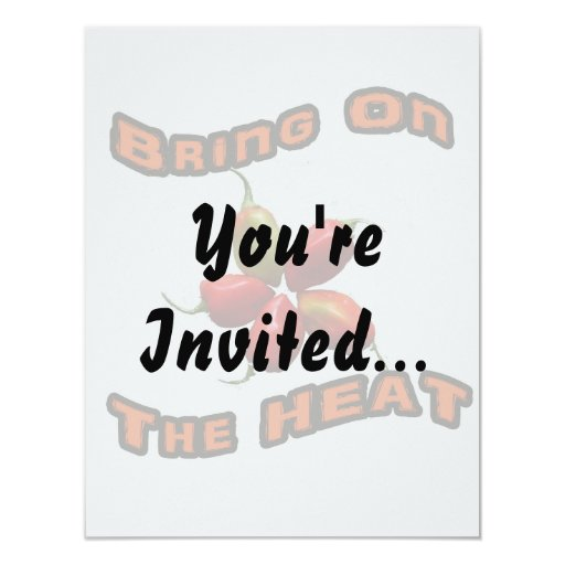 Bring On The Heat Five Hot Habanero Peppers 4.25x5.5 Paper Invitation Card