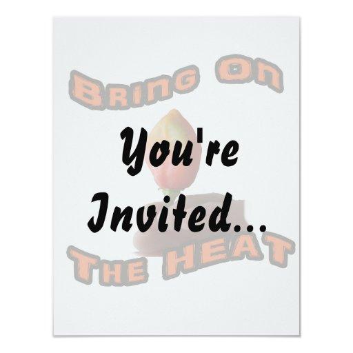 "Bring On The Heat Habanero Fingers Hot Pepper 4.25"" X 5.5"" Invitation Card"