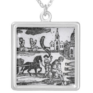 Bring Out Your Dead, The Great Plague of 1665 Square Pendant Necklace