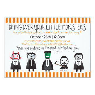 Bring over your monsters - 3x5 Birthday Invitation