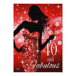 Bring the Bling 40 & Fabulous Birthday | red Card