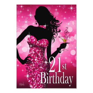 Bring the Bling Sparkle 21st Birthday | fuschia 5x7 Paper Invitation Card