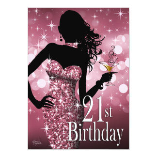 Bring the Bling Sparkle 21st Birthday | mauve Card