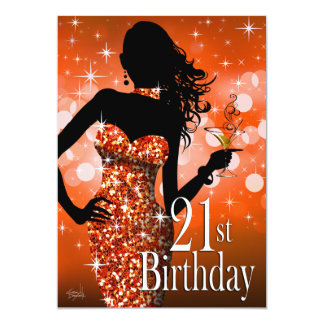 Bring the Bling Sparkle 21st Birthday | orange Card