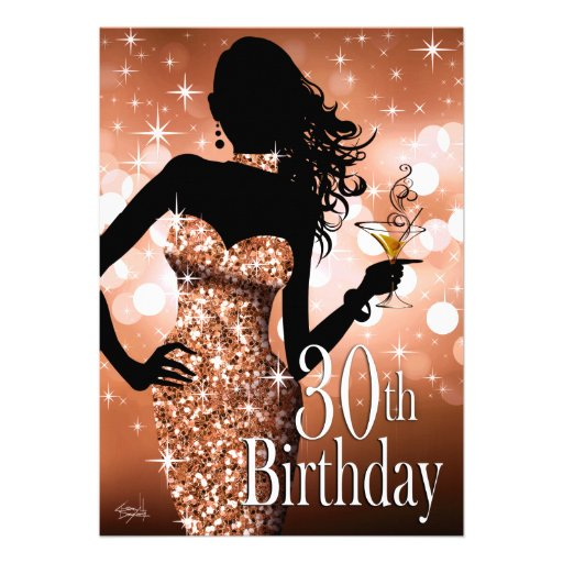 Bring the Bling Sparkle 30th Birthday | bronze Card