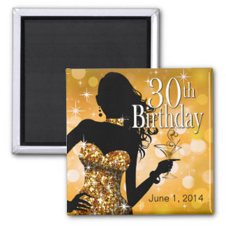Bring the Bling Sparkle 30th Birthday | gold 2 Inch Square Magnet