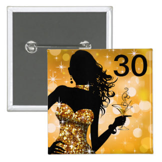 Bring the Bling Sparkle 30th Birthday | gold Button