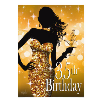 Bring the Bling Sparkle 35th Birthday | gold Personalized Announcements