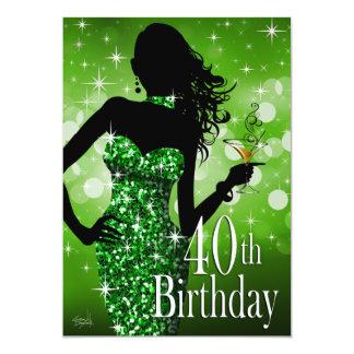 Bring the Bling Sparkle 40th Birthday | green Custom Invites