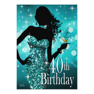 "Bring the Bling Sparkle 40th Birthday | teal 5"" X 7"" Invitation Card"