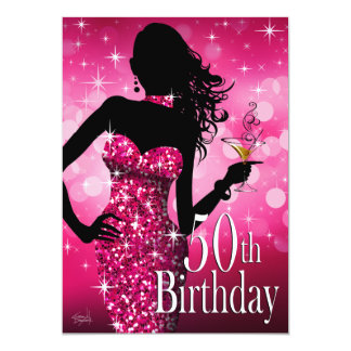 Bring the Bling Sparkle 50th Birthday | fuchsia Card