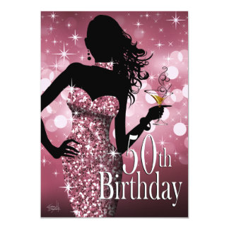 Bring the Bling Sparkle 50th Birthday | mauve Card