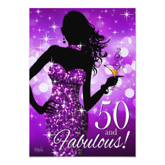Bring the Bling Sparkle 50th Birthday | purple Card