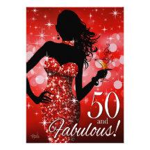 Bring the Bling Sparkle 50th Birthday | red Custom Invitation