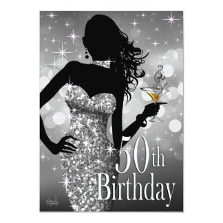 Bring the Bling Sparkle 50th Birthday | silver Card