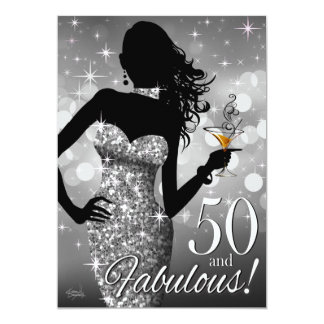 Bring the Bling Sparkle 50th Birthday | silver 5x7 Paper Invitation Card