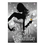 Bring the Bling Sparkle 50th Birthday | silver Custom Invites