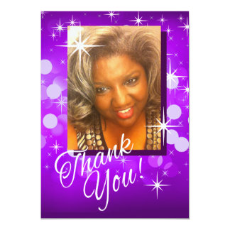 Bring the Bling Sparkle Photo Thank You | purple Card