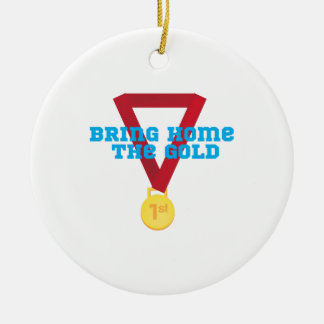Bring the Gold Double-Sided Ceramic Round Christmas Ornament