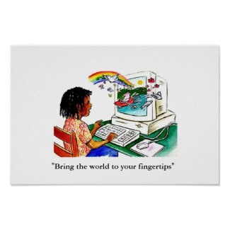 """""""Bring the world to your fingertips"""" Print inspirational computer work poster"""