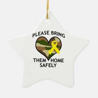 BRING THEM HOME SAFELY Double-Sided STAR CERAMIC CHRISTMAS ORNAMENT