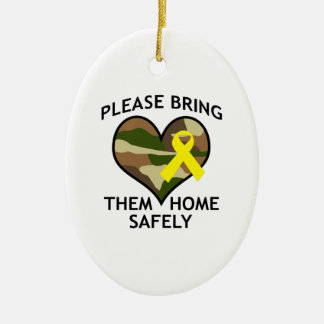 BRING THEM HOME SAFELY Double-Sided OVAL CERAMIC CHRISTMAS ORNAMENT